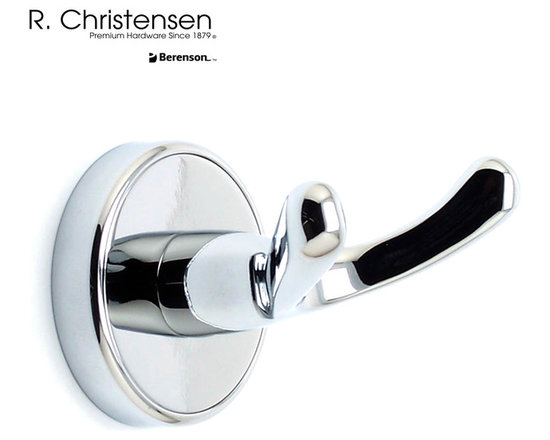 2210US26 Polished Chrome Double Robe Hook by R. Christensen - 2-3/8 inch long contemporary style double robe hook by R. Christensen in Polished Chrome.