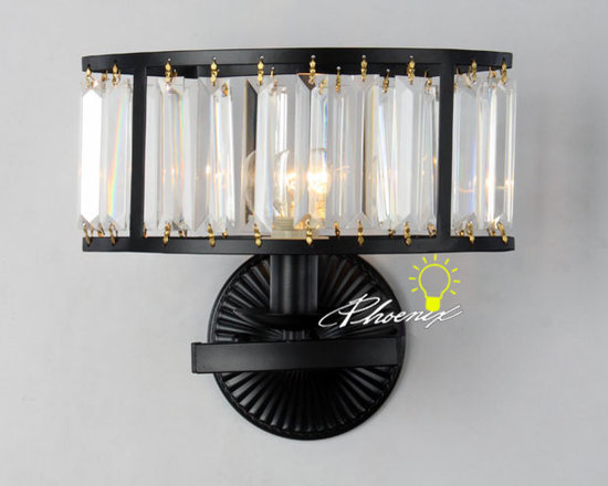 Modern Heavy Metal and Crystal Wall Sconce in Baking Finish - Modern Heavy Metal and Crystal Wall Sconce in Baking Finish