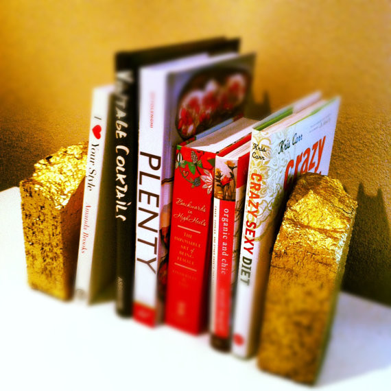Gold Brick Bookends by Carli Louise eclectic-bookends