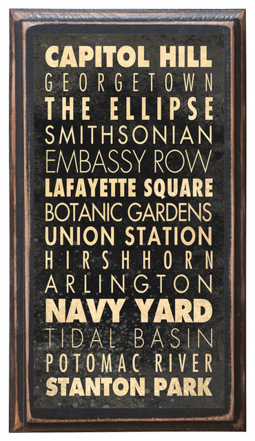 Washington, DC Points of Interest Decorative Vintage Style Wall Plaque / Sign farmhouse-prints-and-posters