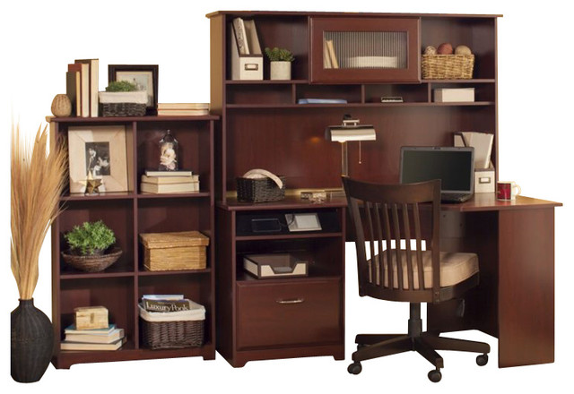 "Bush Cabot 60"" Corner Computer Desk with Hutch and Bookcase in Harvest Cherry - Transitional ..."