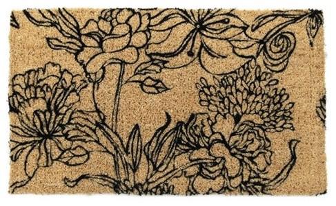 Ink Bouquet Hand Woven Coir Doormat modern-doormats