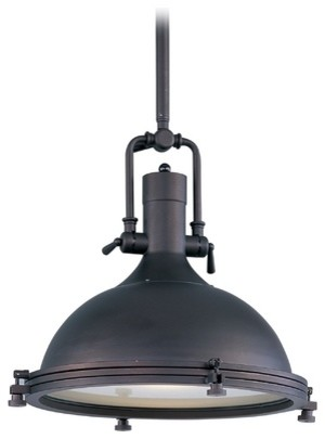 Nautical Pendant Light With Frosted Diffuser In Bronze Finish Pendant Light