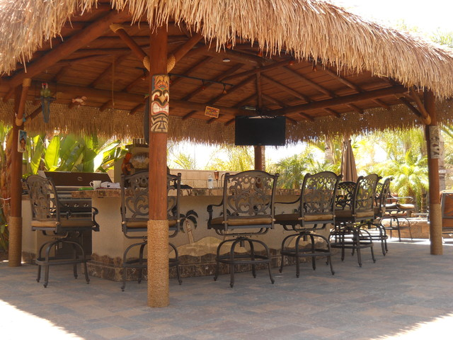 Custom Outdoor Kitchen Solid Roof Palapa