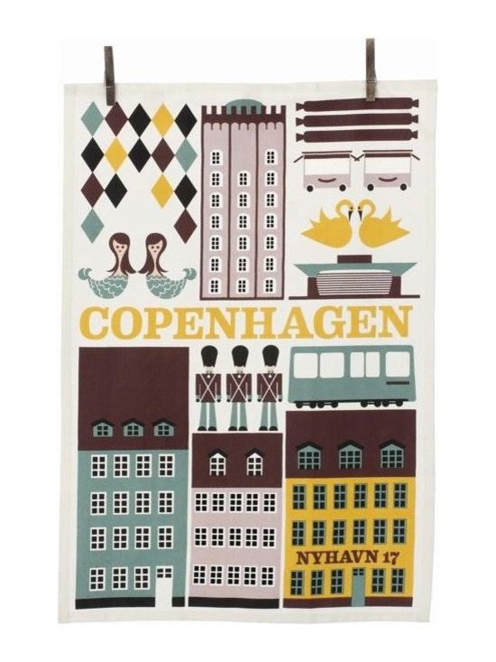 Ferm Living Copenhagen Tea Towel - The Tea Towels by Ferm Living are fashionable, functional and fabulous. They are printed on 100% organic cotton and will without a doubt make doing the dishes a pleasure.