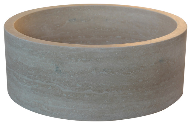 Light Travertine Cyclindrical Vessel Sink mediterranean