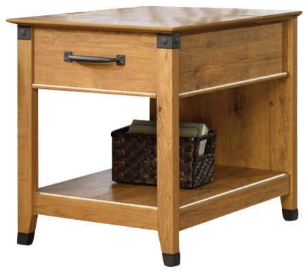 Sauder Registry Row Smartcenter Side Table in Amber Pine - Farmhouse - Side Tables And End ...