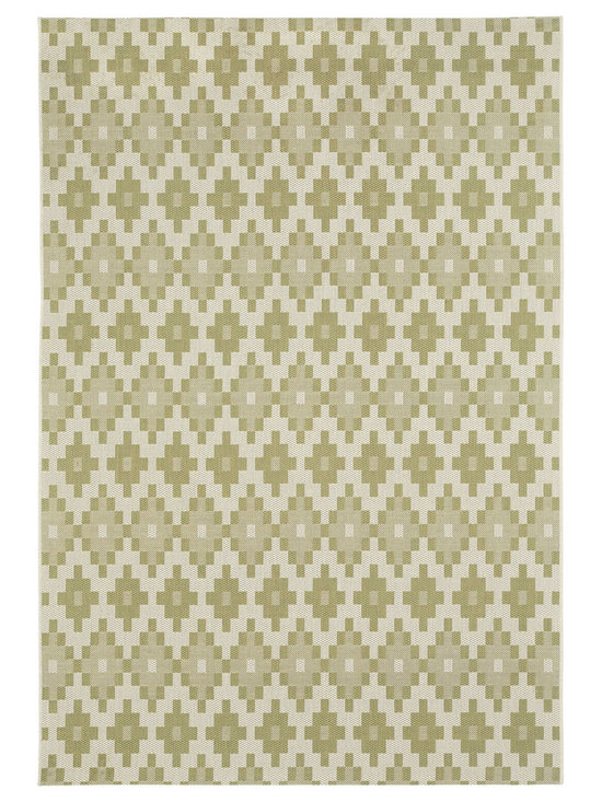 """Finesse Pueblo rug in Celery - An esteemed """"Capel Anywhere"""" rug collection woven on precision machine looms in Europe. These versatile rugs can be used in high traffic areas indoors - like kitchens and sunrooms - or to dress up covered porches and decks outside."""