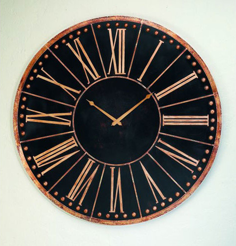 Antique black oversized iron accent wall clock modern - Oversized modern wall clock ...