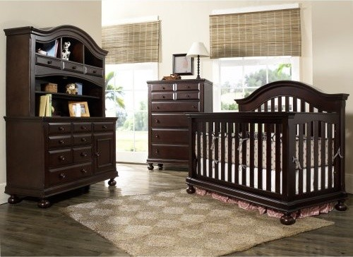 Creations Baby Summers Evening 4 in 1 Convertible Crib Collection - Espresso traditional-cribs