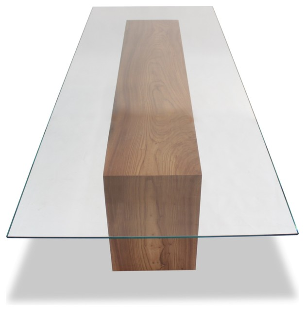 Glass top and solid wood dining table contemporary for Dining table designs in wood and glass