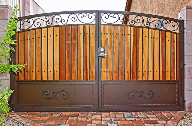 Traditional iron and wood gate by first impression Metal gate designs images