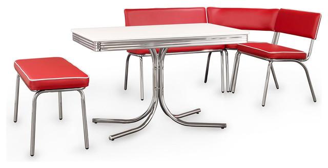 Coaster Fine Furniture Retro Chrome Corner Nook Dining Set