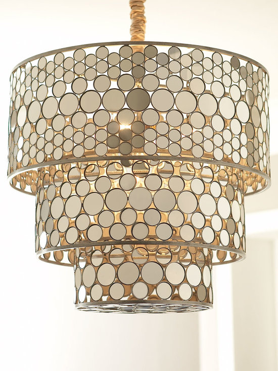 Lighting - Exclusively ours. This striking chandelier shimmers in an on-trend golden hue.