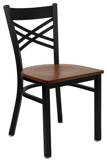 Black 39 39 X 39 39 Back Metal Restaurant Chair With Cherry Wood Seat