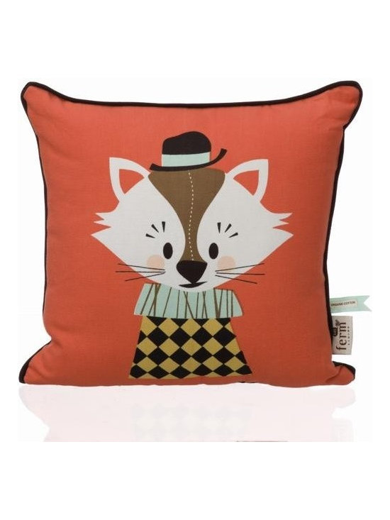 """Ferm Living Organic Aristo Katt Pillow - Ferm Living has created an adorable collection of pillows called """"The Marionette Collection"""" made from 100% Organic cotton with soft and cozy down filling."""