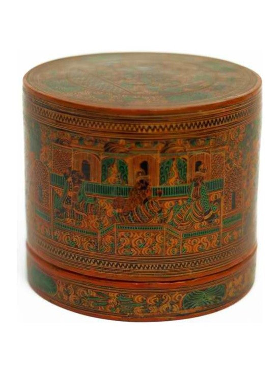 Burmese Lacquer Betel Nut Box - Throughout Asia, it used to be customary for most homes to have special compartmentalized boxes or trays that were used to hold the various materials used to make fresh betel nut quids. When guests would visit, they would be presented with a fully stocked box with all the makings of a tasty betel chew.