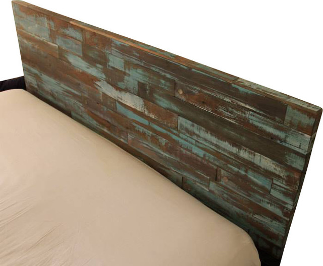 Wood Headboard Painted Green and Blue, Queen - Eclectic - Headboards ...