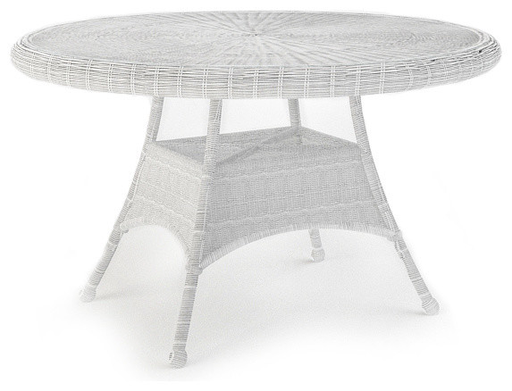 In Round Patio Dining Table White Wicker Traditional Outdoor Tables
