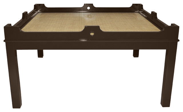 Fairfield 48 Square Coffee Table - Turkish Coffee with Natural Raffia traditional-coffee-tables