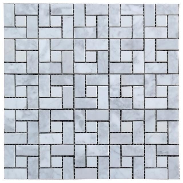 White Carrara Honed Mosaic Target Tile modern-tile