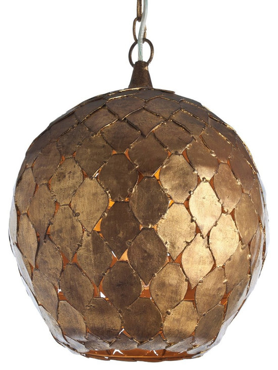 Arteriors Osgood Pendant - Handcrafted pendent with rustic diamond shaped antique gold finish leaves are pieced together to form dome.