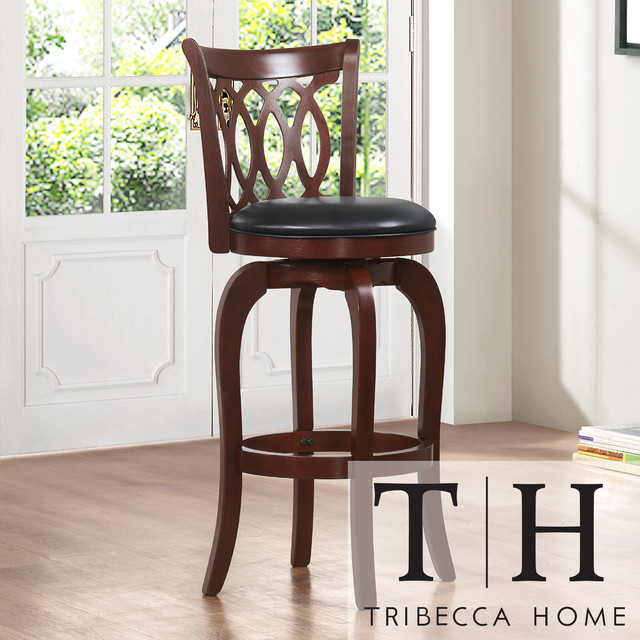 TRIBECCA HOME Verona Cherry Scroll-back Swivel 29-inch Barstool contemporary-bar-stools-and-counter-stools