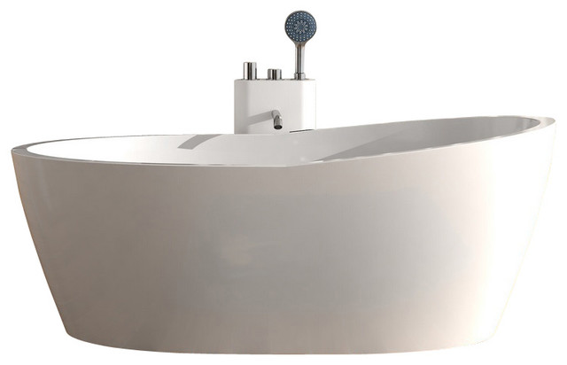 Stand Alone Bathtubs : ADM Matte Stand Alone Resin Bathtub, White - Modern - Bathtubs - by ...