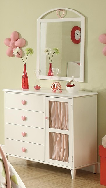 Drawer Dresser with Door and Heart Shaped Knobs modern-kids-dressers-and-armoires