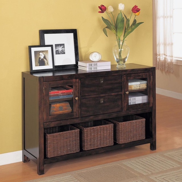 Console Table with Basket Storage in Mahogany - Modern - Filing Cabinets - by Modern Furniture ...