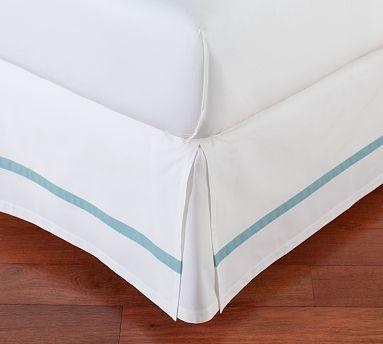 Morgan Banded 400-Thread-Count Bed-Skirt, Cal. King, Aqua traditional-bedskirts