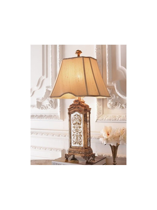 "Hand-Painted Mirrored Lamp - Bisque-colored shade is silk dupioni. 16""W x 12""D x 29.5""T. Three-way switch; uses one 100-watt bulb. Imported."