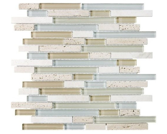 F12 Tranquility Linear Glass Stone Blend Mosaics - • Length: 12""