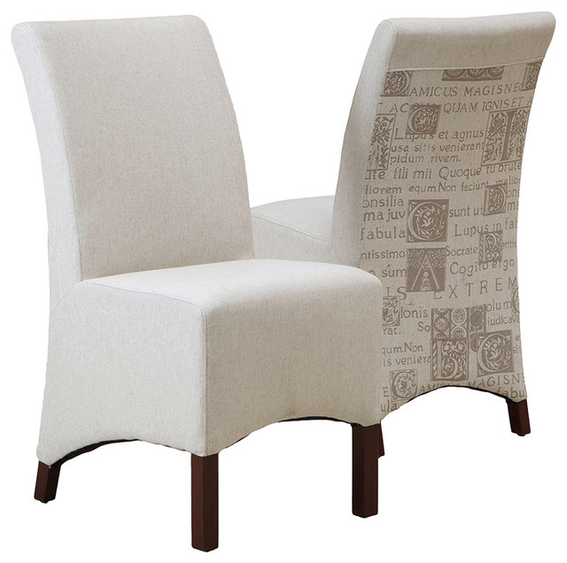 Avery Beige Printed Fabric Dining Chair Set Of 2