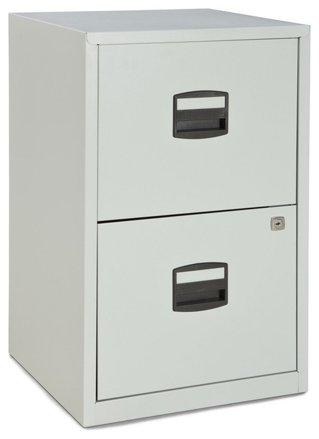 Bisley 2-Drawer Home Filing Cabinet in Light Gray Steel - Traditional ...