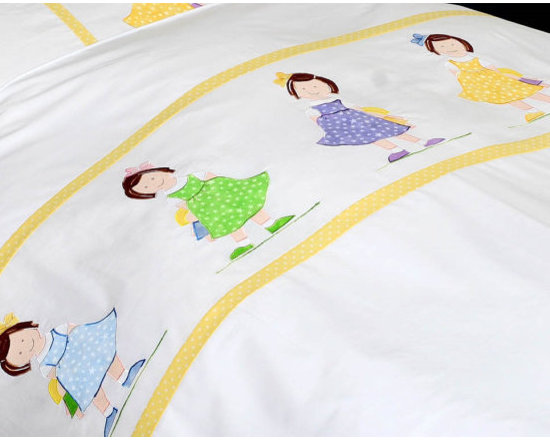 girl's twin bedding - Girls and their best friend:their dolls...This cute duvet cover and pillowcase are appliqued with delicate stars printed fabric in pastel colors. The duvet cover is white on front and back and the pillow case is white on front and back.