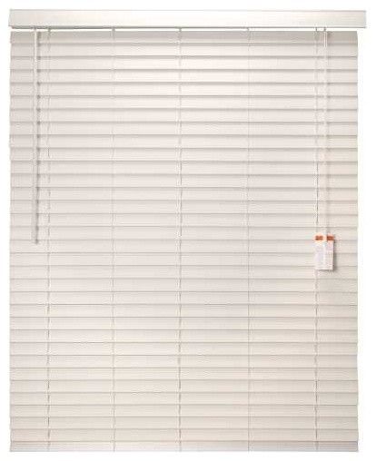 Mini Blind Faux Wood 52 In. x 60 In. x 2 In. With Valance White contemporary-window-treatments