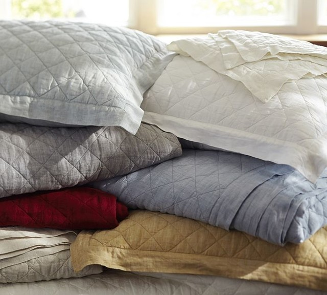 Diamond Linen Quilt and Shams traditional-quilts-and-quilt-sets
