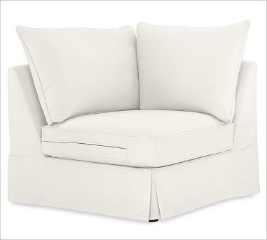 PB Comfort Roll-Arm Slipcovered Corner, Down-Blend Wrap Cushions, Twill White traditional-decorative-pillows