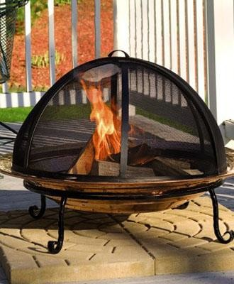 Copper Fire Pit and Screen traditional-fire-pits