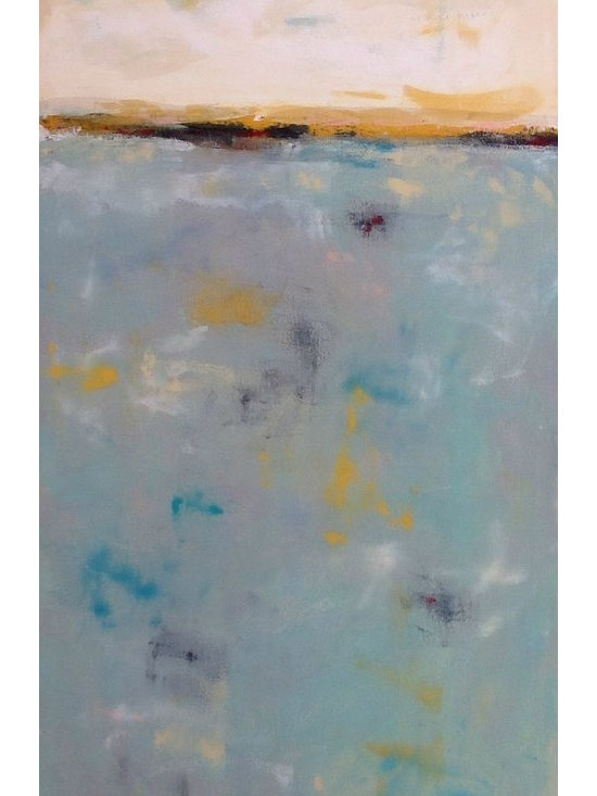 """Linda Donohue - Abstract Coastal Painting- Horizon With Golds 24 X 48 - This is an original acrylic painting on gallery wrapped canvas that is painted with a pallet knife. It measure 24 x 48 x 1/2"""" depth and is wired and ready to hang as it is or will be nice placed in a frame. This painting is inspired by the San Francisco Bay Area where I live."""