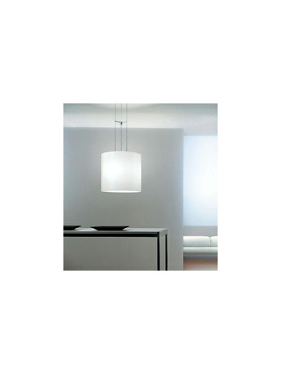 Class Pendant Lamp By Leucos Lighting - Class by Leucos is a pendant fixture with satin white or a satin amber hand blown glass diffuser.