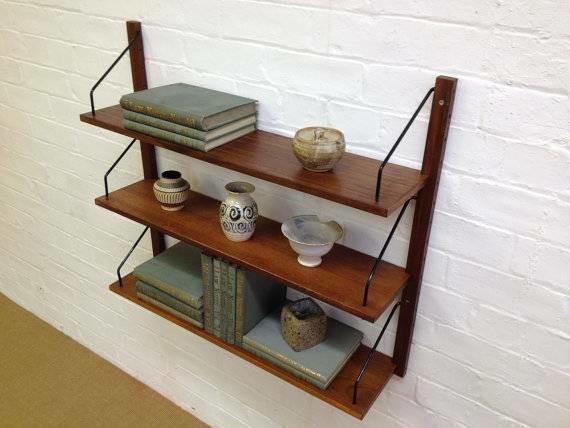 mid century cado style wall shelving modern display. Black Bedroom Furniture Sets. Home Design Ideas