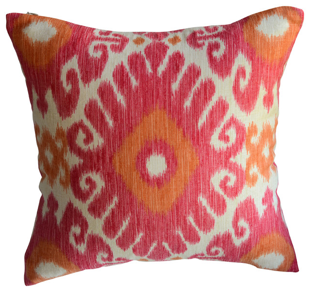 Pink and Orange Ikat Decorative Pillow - Mediterranean - Pillows - by KH Window Fashions, Inc.
