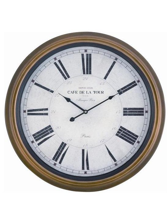 "COOPER CLASSICS - Henley 24"" Wall Clock - Toffee Finish."