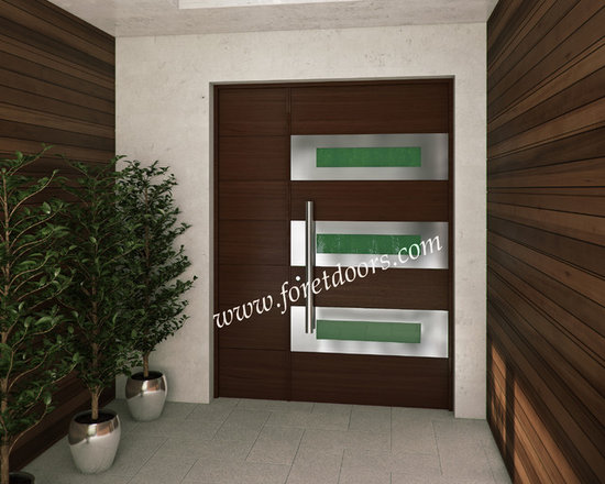 Modern front entry doors / contemporary front entry doors - Solid wood contemporary entry door with stainless steel inserts and stainless steel pull