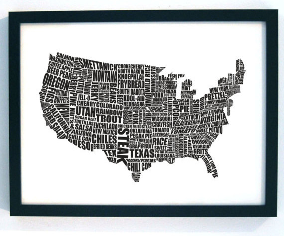 USA Gastronomy, Black, A2 by Lucy Loves This modern artwork