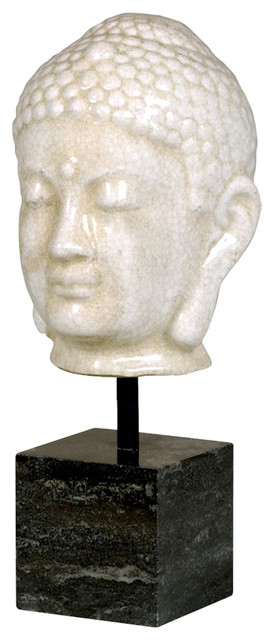 Antique White Ceramic Buddha Head Sculpture on Marble Base - Transitional - Sculptures - by ...