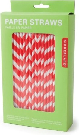 Kikkerland Biodegradable Paper Straws, Red and White Striped modern