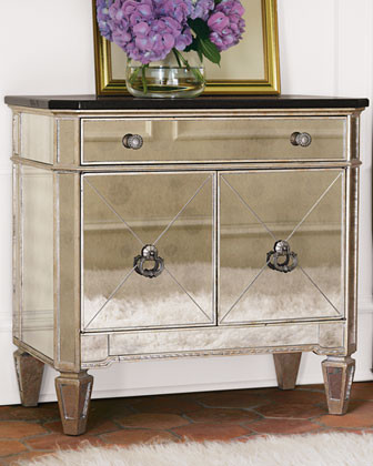 Two-Door Mirrored Chest with Granite Top eclectic dressers chests and bedroom armoires